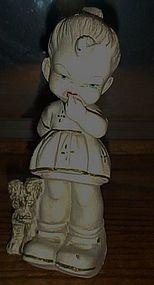 "Antique girl and dog chalk figurine 9"""