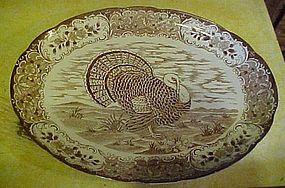Large vintage  oval turkey platter brown transferware