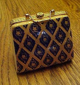 Ladies purse trinket box with rose lapel pin inside