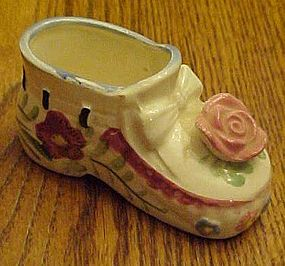 Vintage hand painted ceramic shoe with rose Japan