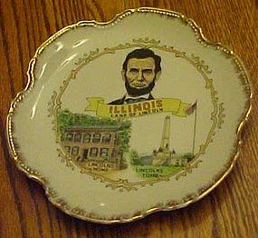 Vintage Illinois Land of Lincoln souvenir plate