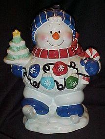 Ice skating snowman cookie jar, tree, mittens, cane