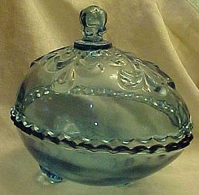 Tiara Blue egg covered candy dish by Indiana Glass