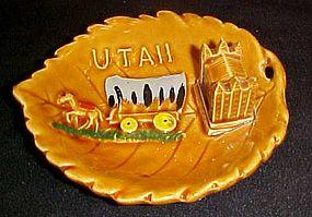 Vintage souvenir Utah leaf dish with covered wagon