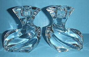 Orrefors crystal candleholder Residence pattern PAIR