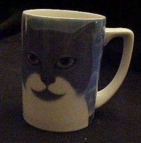 Dept 56 Martin Leman cats Away grey and white kitty mug