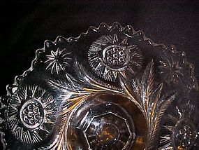 EAPG Us Glass Solar Feather Swirl footed candy  1908