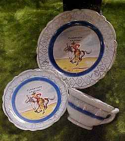 Vintage souvenir cowboy mini cup saucer and plate set