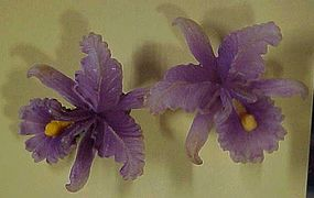 Germany plastic lavender purple Orchid flower earrings