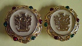 Rare Paolo Gucci Crest gold and enamel  button earrings