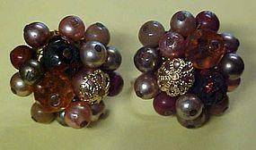 Vintage beaded brown n gold cluster earrings clip ons