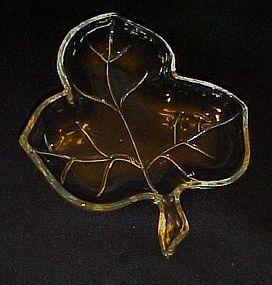 Hazel Atlas vintage three section leaf dish clear glass