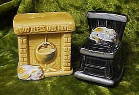Fireplace and rocking chair comfy kitty salt shakers