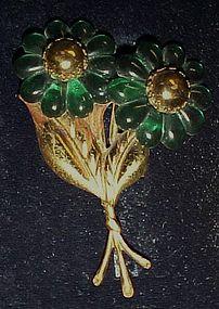 Antique emerald green plastic flower pin