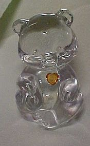 Fenton crystal birthstone bear November topaz heart