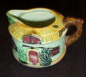 Vintage green thatched cottage creamer Japan