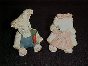 Pair of little bunny rabbit figurines
