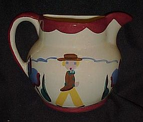Vintage hand painted  ceramic pitcher  wall pocket