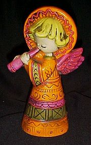 Vintage Christmas angel playing horn colorful 60s-70s