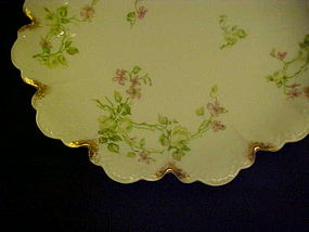 Antique Haviland fancy scalloped bowl trailing florals