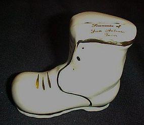 Vintage ceramic souvenir shoe bank from San Antonio TX