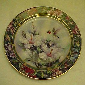 Lena Liu Ruby Throated Hummingbird collector plate