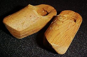 Vintage miniature hand carved Dutch wooden doll shoes