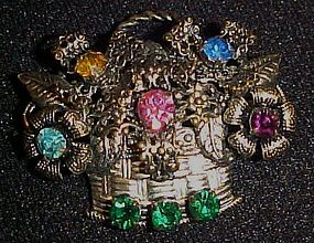Stamped metal basket of flowers rhinestone pin