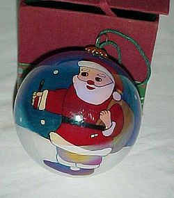 """Reversed painted Santa with toy sack 3"""" ornament"""