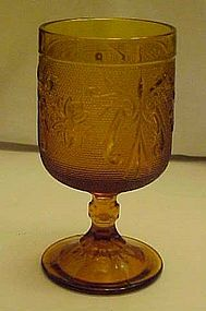Tiara amber sandwich glass table wine water goblet