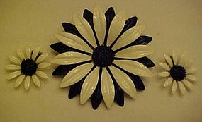 Vintage enamel black and white flower pin and earrings