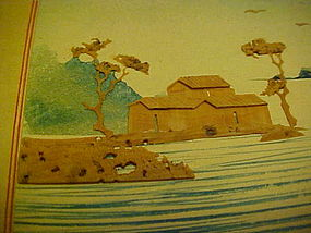Vintage hand painted Japanese Christmas card with cork