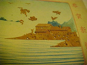Vintage Japanese Christmas card hand painted w/cork