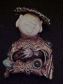 Vintage HAR smiling Chinese boy pin in coolie hat