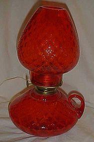 Fenton Colonial orange Diamond Optic courting oil lamp
