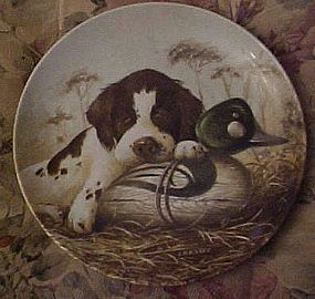 Knowles Dog Tired Springer Spaniel plate