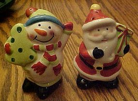 Santa and Snowman cheery Christmas salt  pepper shakers