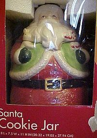 Santa Claus ceramic cookie jar in original box.
