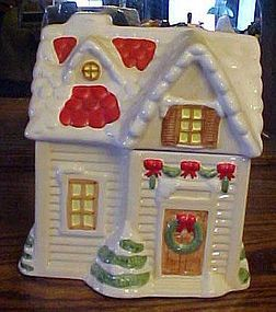 Ceramic Holiday house cookie jar in box  by  WCL