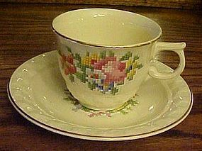 Taylor Smith Taylor petit point bouquet cup and saucer