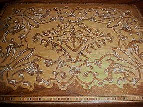 Antique Switzerland inlay wood box curved top