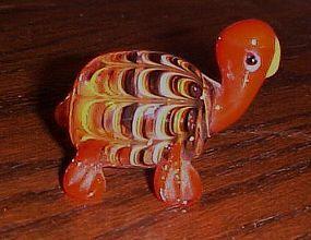 Hand blown art glass turtle paperweight figurine