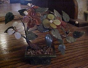 Vintage Jade and stone bonsai tree in Jade pot
