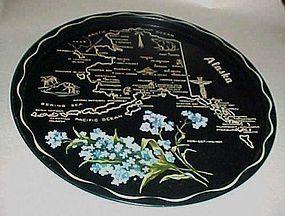 Black metal souvenir Alaska state plate tray