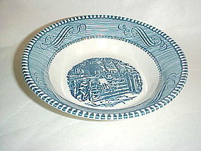 Currier and Ives blue and white dessert bowl by Royal