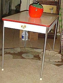1930 S Enamel Porcelain Kitchen Table Red And White Item 1210783