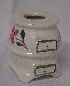 Vintage  h/p pottery pot belly stove toothpick holder