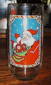 Pepsi Christmas Collection 1983 glass Santa in sleigh