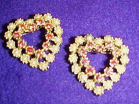 Pr vintage heart cluster pins pink rhinestones / pearls