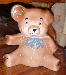 Vintage brown teddy bear cookie jar with blue tie